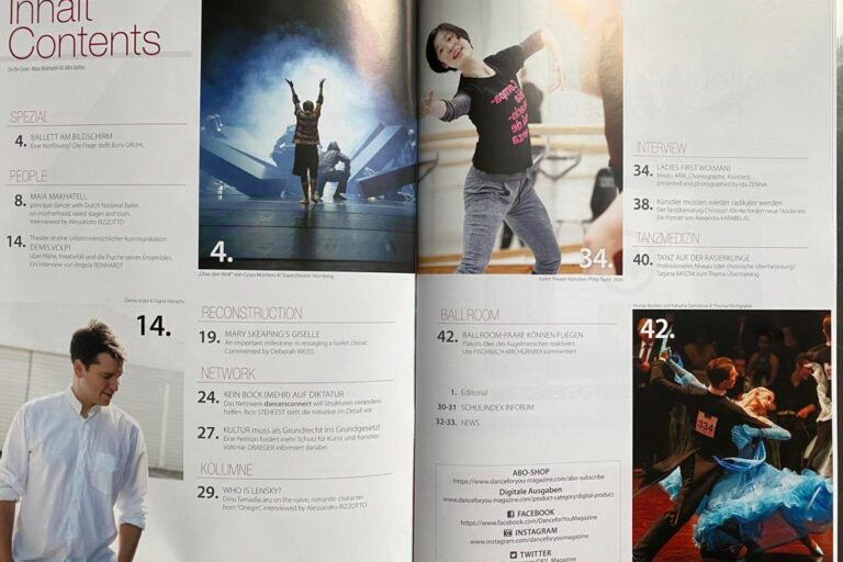 Dance for you magazine contents page